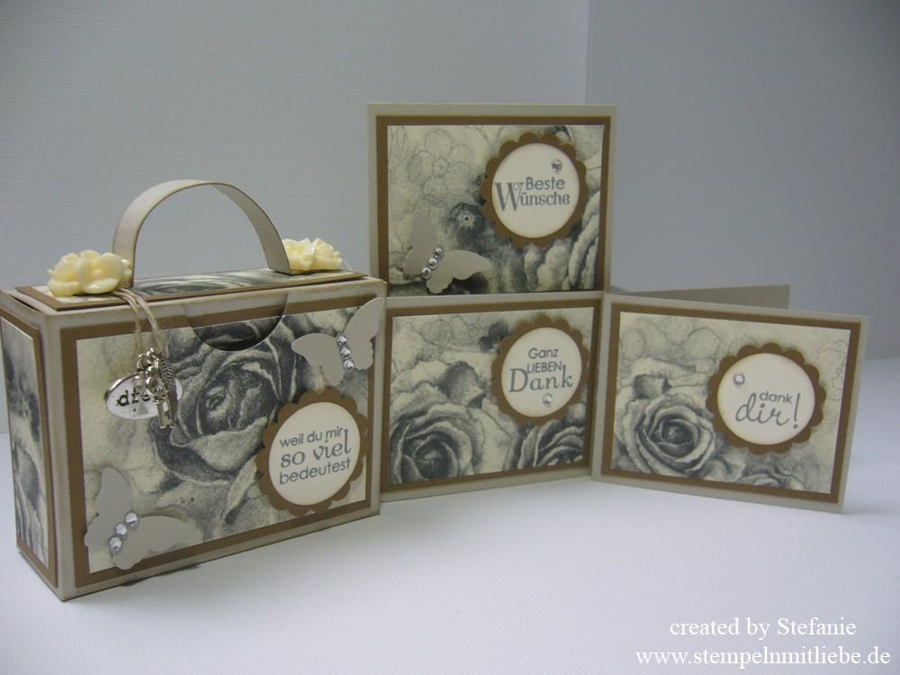 Vintage Koffer / Kofferbox mit 3 Mini Karten inkl. Anleitung