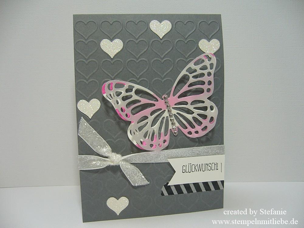Diamantherzen Karte zum Geburtstag / Hochzeit