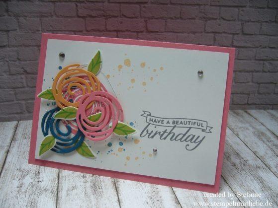 Geburtstagskarte mit dem Set Swirly Bird & Birthday Blossoms