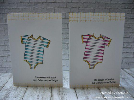 """Babykarten zur Geburt mit dem Stempelset """"Zum Nachwuchs"""""""
