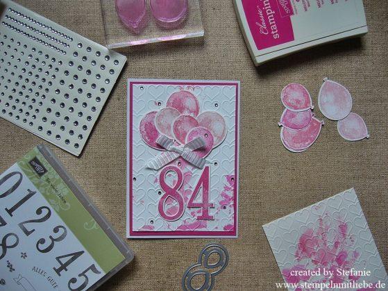 Peppige Karte zum 84. Geburtstag in Pink