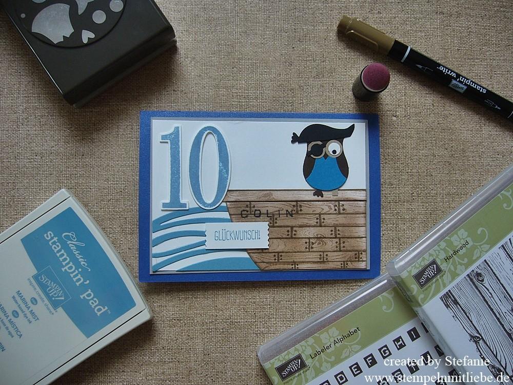 Geburtstagskarte Pirat zum 10. Geburtstag & Flohmarkt aufgefüllt