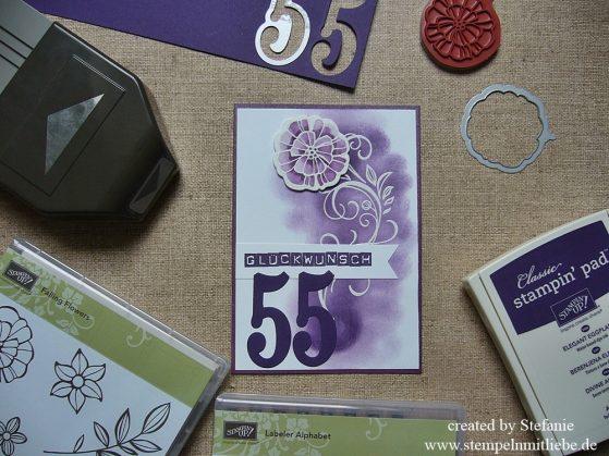 "Geburtstagskarte in Aubergine mit dem Set ""Falling Flowers"""