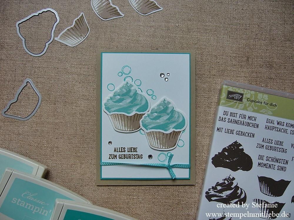 Geburtstagskarte Cupcake für Dich in Bermudablau