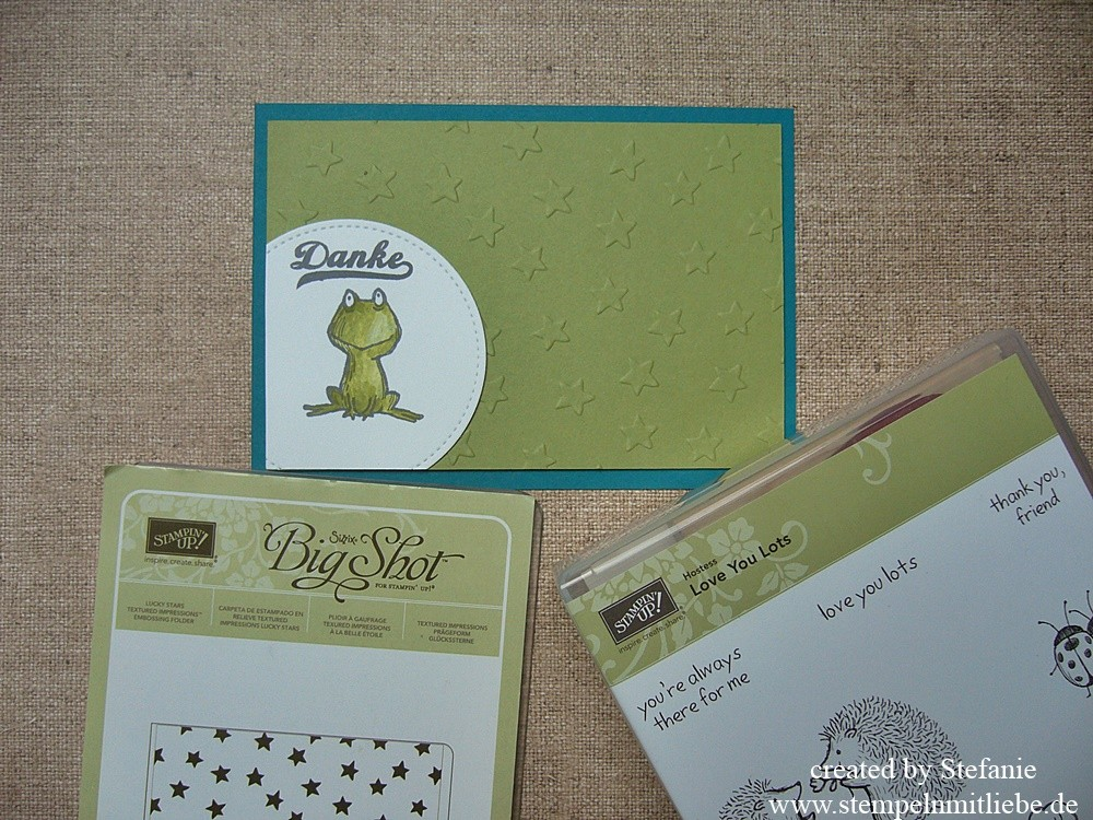 Froschige Dankeskarte mit dem Stempelset Love you lots