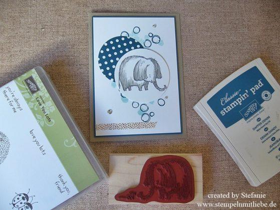 Geburtstagselefant in Jeansblau
