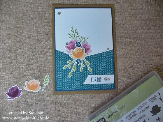 Blumenbouquet zum Geburtstag mit dem Stempelset Glasklare Grüße