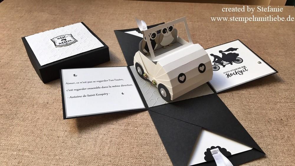 Hochzeitsexplosionsbox mit Auto in Schwarz / Weiß