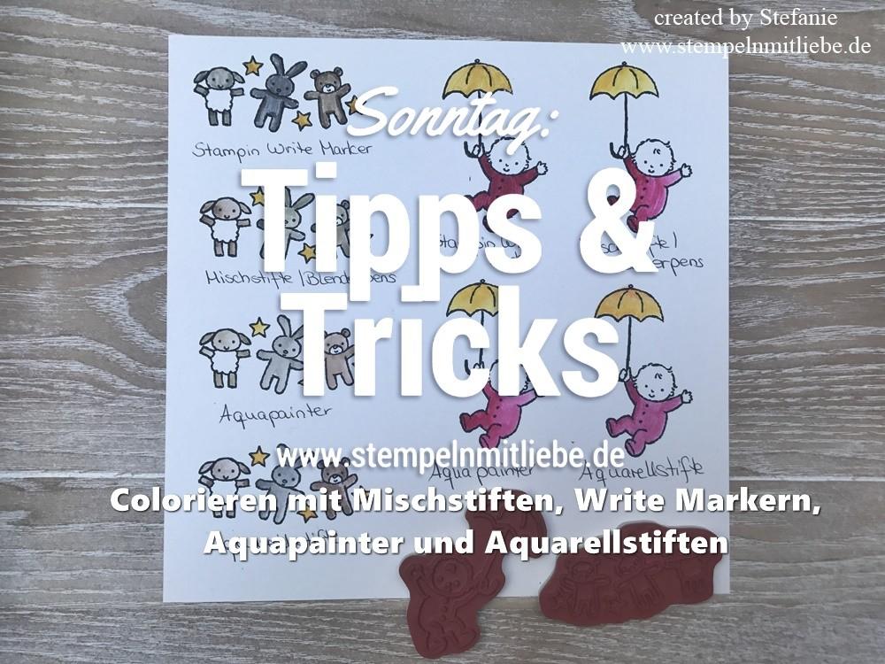 Sonntag: Tipps & Tricks Colorieren mit Mischstiften, Write Markern, Aquapainter und Aquarellstiften inkl. Video