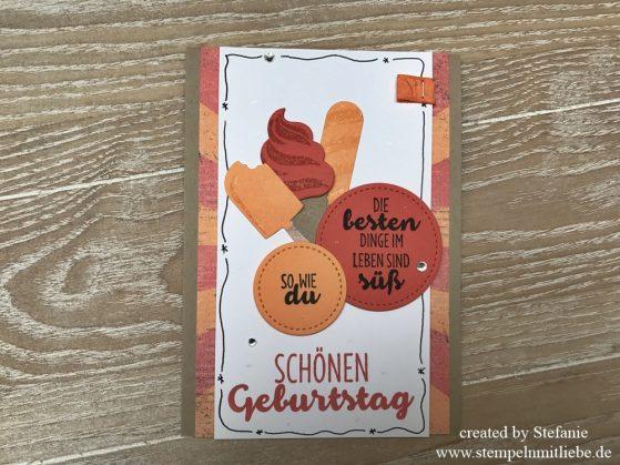 Geburtstagskarte mit dem Produktpaket Eis, Eis, Baby und Reihenweise Grüße