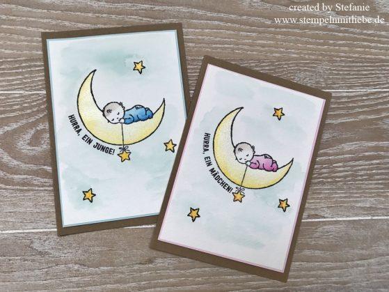 Karten zur Geburt mit dem Stempelset Moon Baby