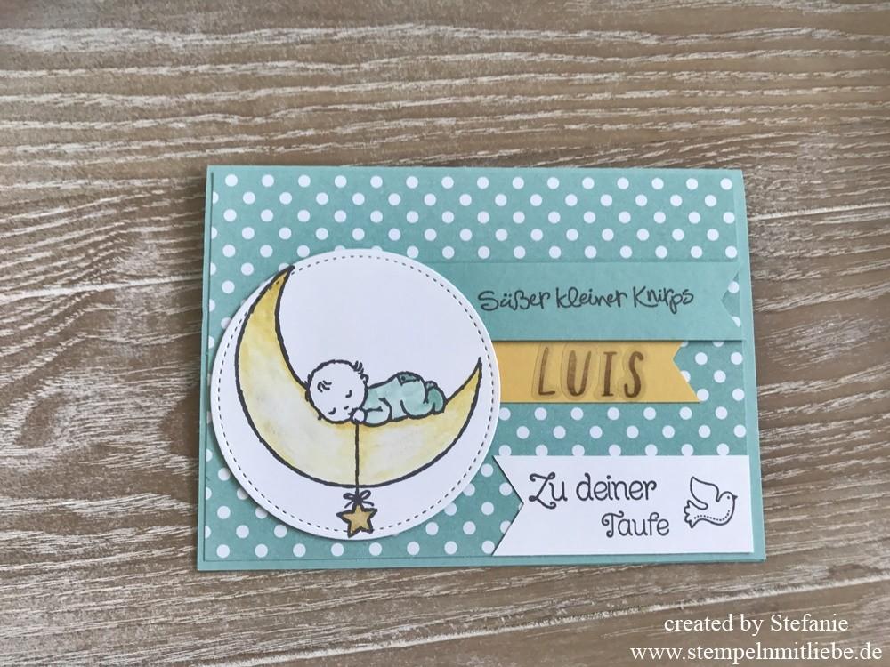 Taufkarte mit dem Stempelset Moon Baby
