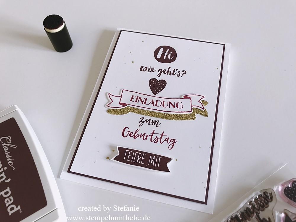 Heute Habe Ich Diese Karte Für Euch, Denn Ich Wollte Einmal Eine Peppige  Einladungskarte Zum Geburtstag Machen Und Natürlich Laden Sowohl Die Neuen  Farben ...