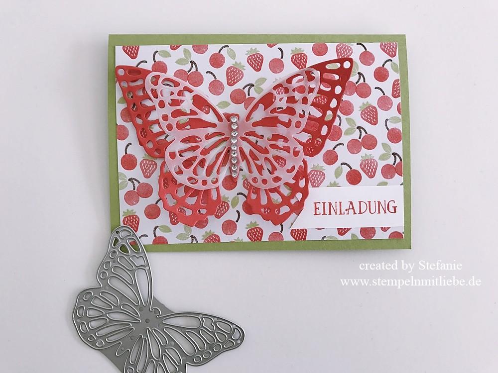Erdbeerige Einladungskarte zum Geburtstag