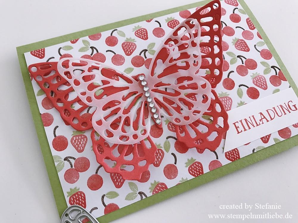 Erdbeerige Einladungskarte zum Geburtstag 02
