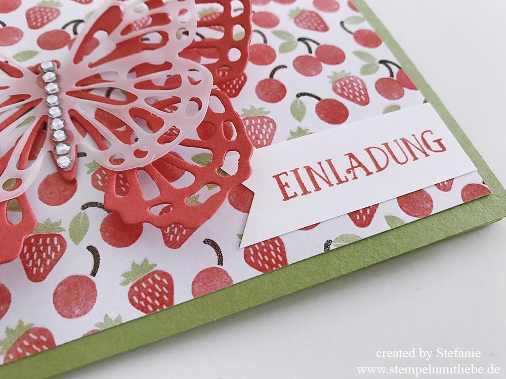 Erdbeerige Einladungskarte zum Geburtstag 03