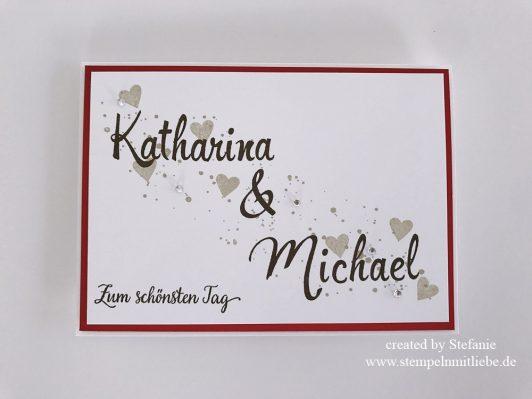 Persönliche Hochzeitskarte mit Namen des Brautpaares