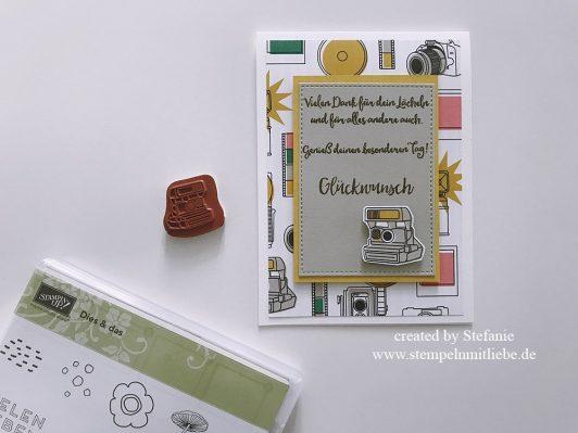 Glückwunschkarte mit Kamera aus Designerpapier