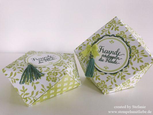Florale Diamantbox in Limette
