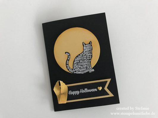 Halloweenkarte mit Katze in Schwarz/Safrangelb