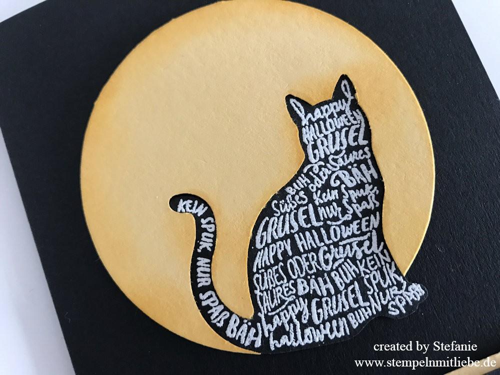 Halloweenkarte mit Katze in Schwarz/Safrangelb 02