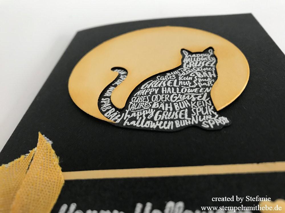 Halloweenkarte mit Katze in Schwarz/Safrangelb 03