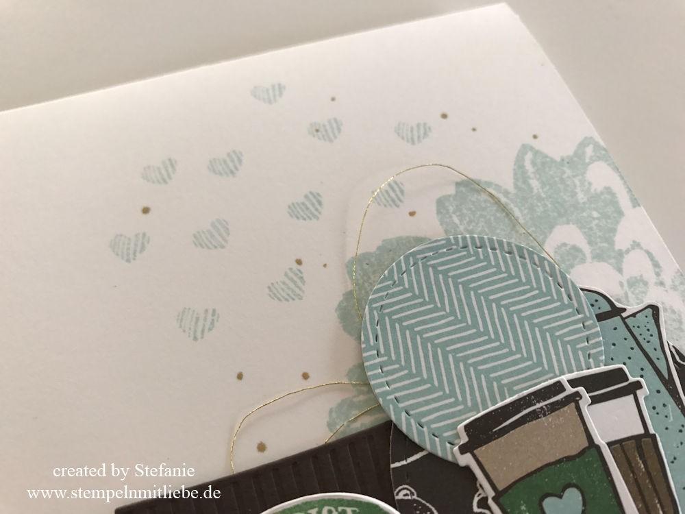Kaffee Karte in Himmelblau Stempeln mit Liebe 06