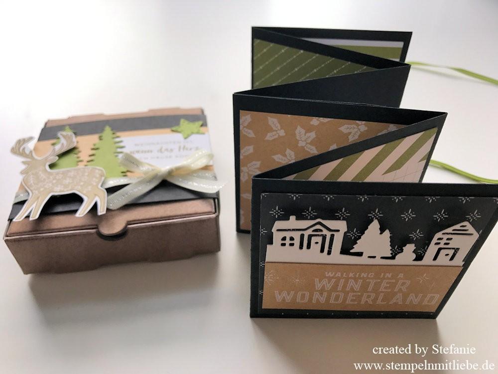 weihnachtliches leporello album in der mini pizzaschachtel stampin 39 up stempeln mit liebe. Black Bedroom Furniture Sets. Home Design Ideas