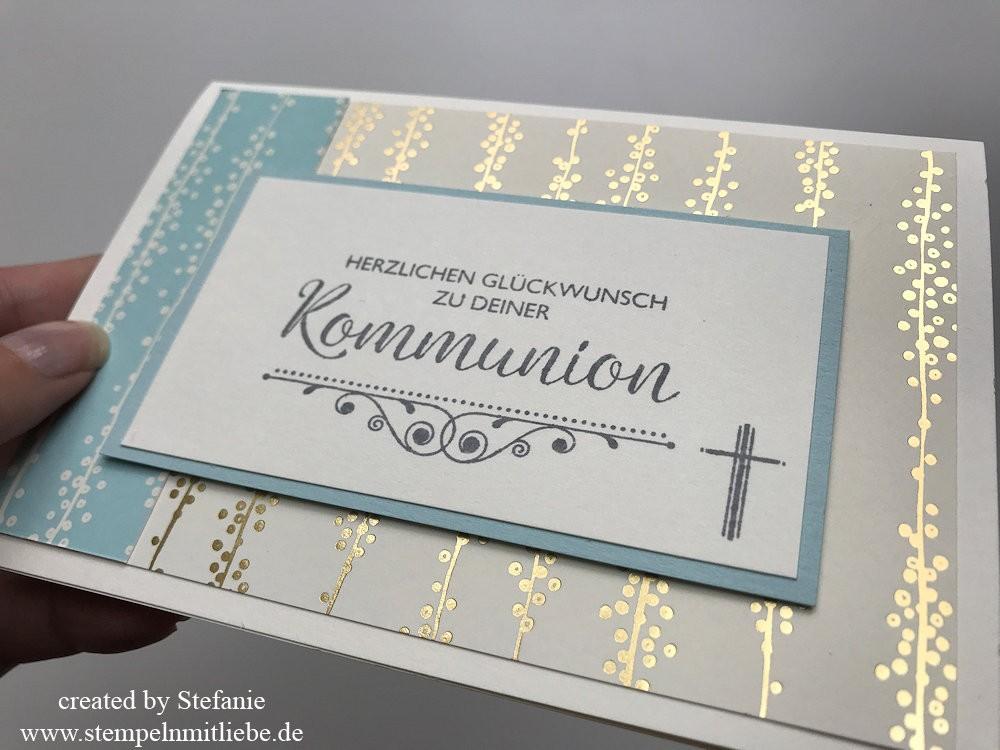 Kommunion Karte Schreiben.Karte Zur Kommunion In Gold Stampin Up Stempeln Mit Liebe