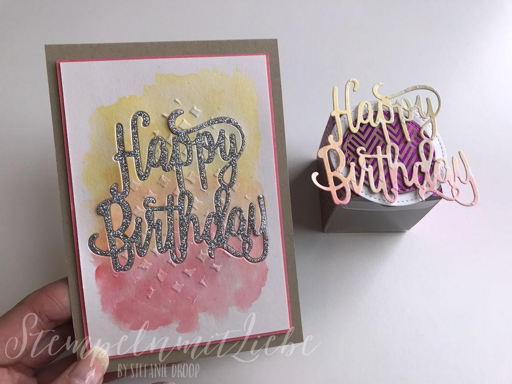 Geburtstagskarte und Verpackung im Aquarelllook