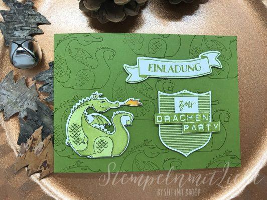 Einladungskarte zur Drachenparty