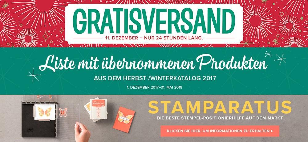 Gratisversand am 11.Dezember, Stamparatus und Liste der übernommenen Produkte