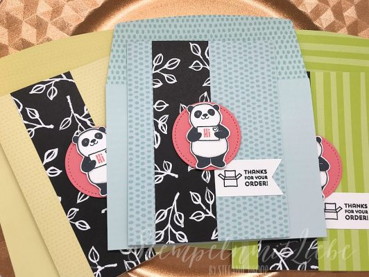 Dankeskarten mit dem Stempelset Party Pandas