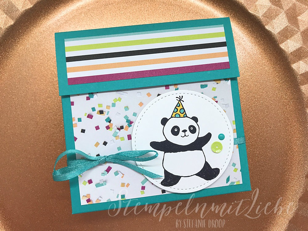 Panda Kartenverpackung in Bermudablau inkl. Anleitung
