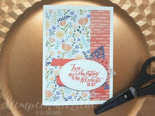 Frühlingshafte Geburtstagskarte mit Gutschein
