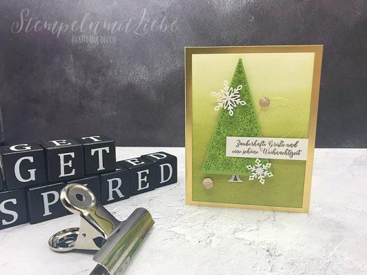 Weihnachtliche Grüße in Goldgrün