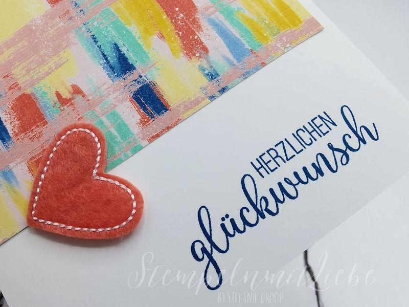 Geburtstagskarte mit Filzherz