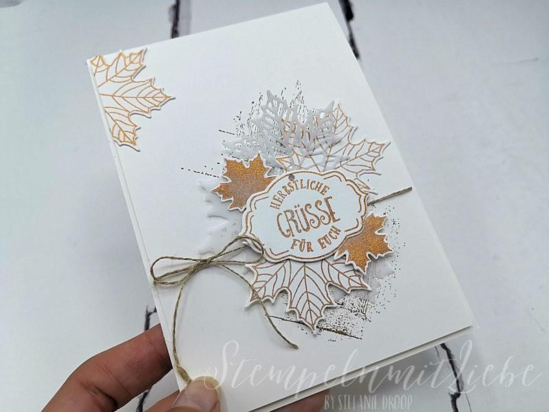 Herbstgrüße mit Delicata in Kupfer