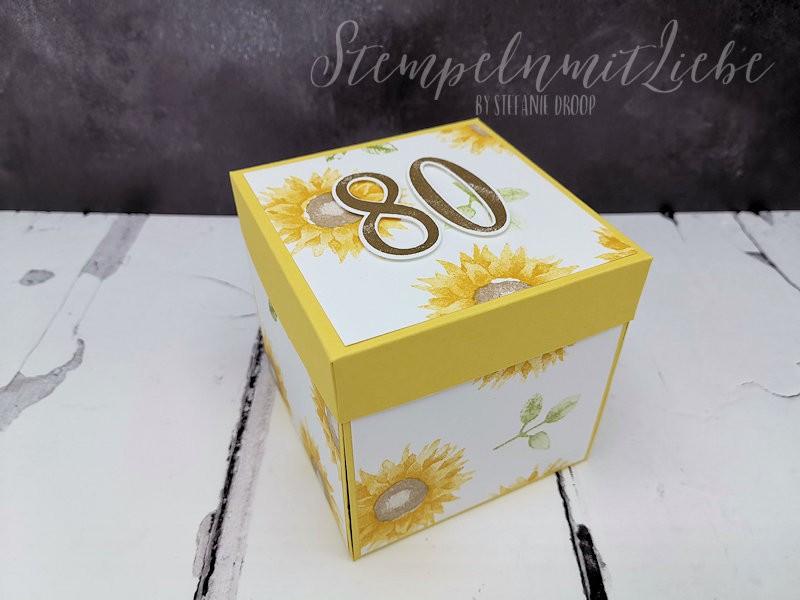Explosionsbox mit Sonnenblumen
