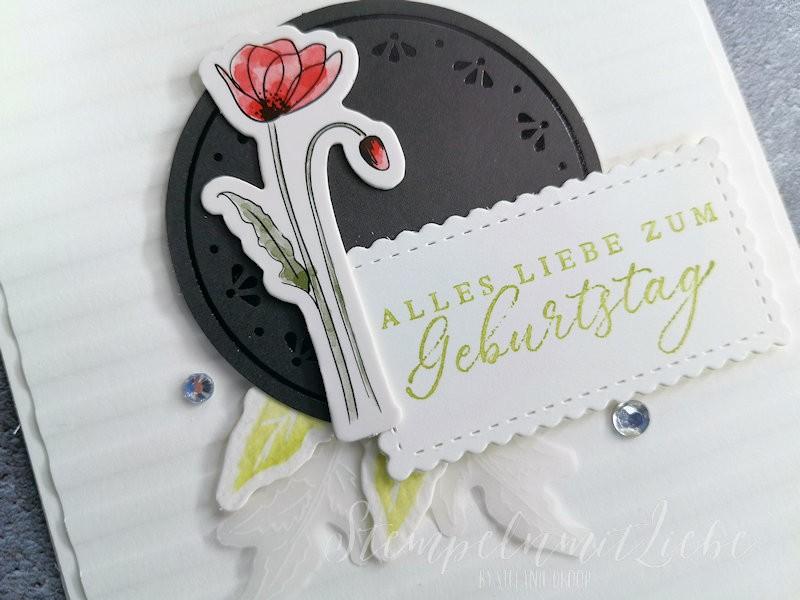 Geburtstagskarte mit Akzente Mohnblütenzauber