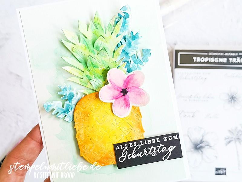 Sommerliche Geburtstagskarte mit Tropische Träume