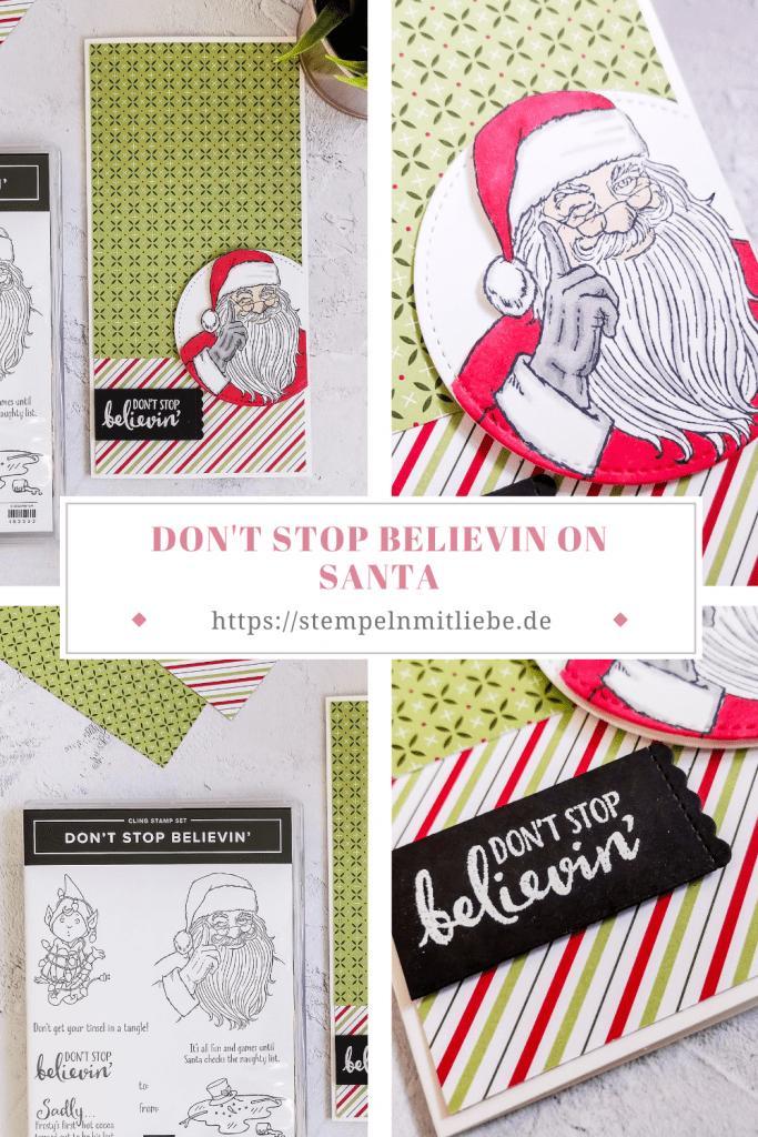 Don't stop believin' on Santa - Designerpapier Weihnachten im Herzen