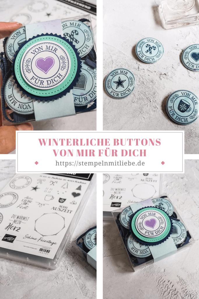 Winterliche Buttons von mir für dich - Warm Hugs
