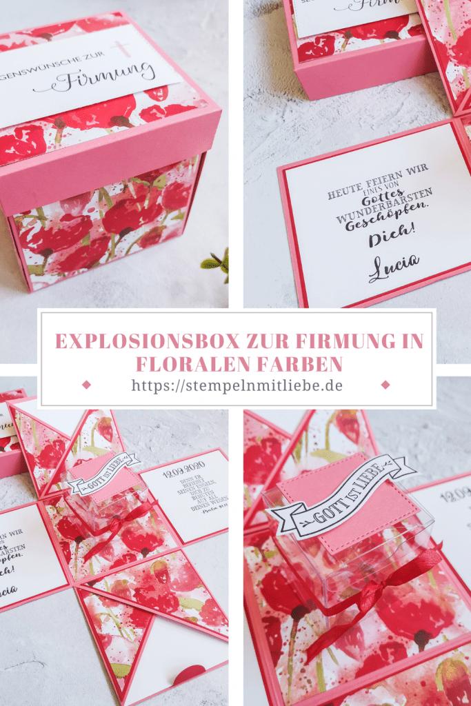Explosionsbox zur Firmung im floralem Design - Designerpapier Mohnblütenzauber - Segensfeste - Hoffe & Glaube