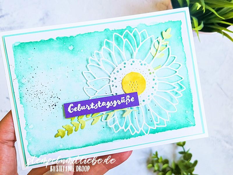 Geburtagsgrüße mit Sonnenblume in Jade