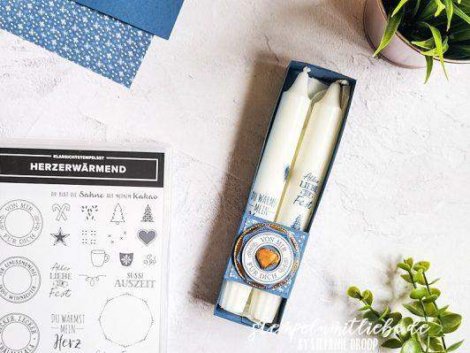 Anleitung: Bestempelte Kerzen in Abendblau