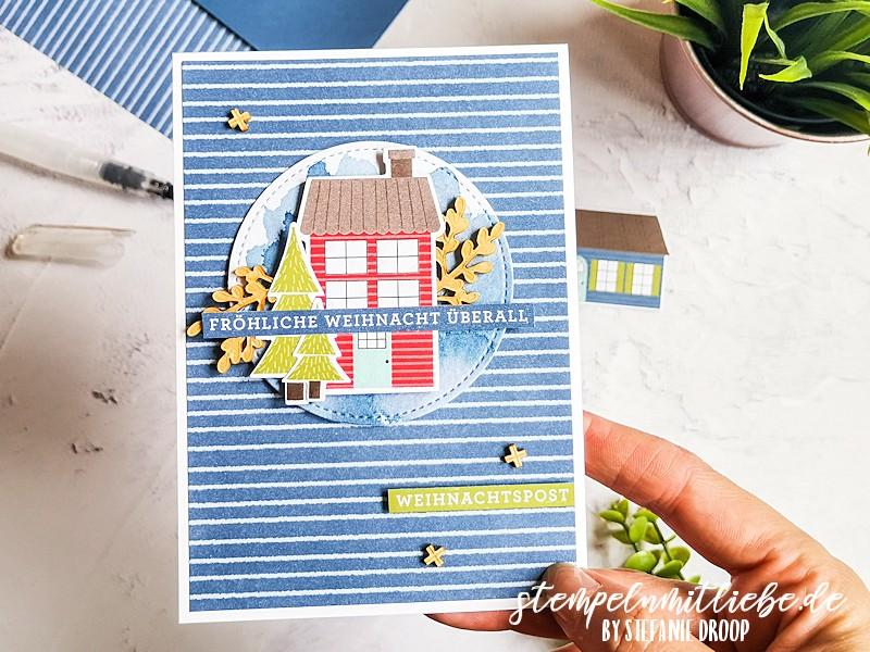 Weihnachtspost in Abendblau - Designerpapier Adventsstädtchen - Trimming the Town - Abendblau