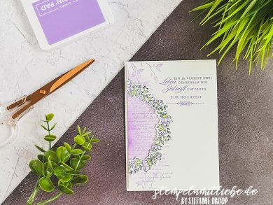 Hochzeitskarte in Heideblüte
