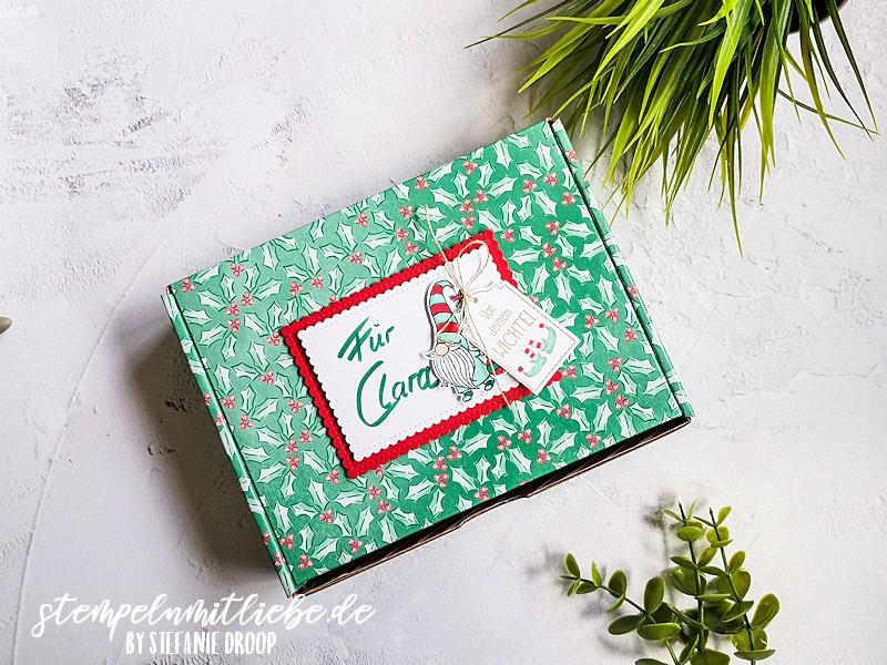 Wichtelgeschenk mit Projektsetschachtel - Stampin' Up! - Wichtelweihnacht - Etiketten-Mix - Tannengrün - Glutrot