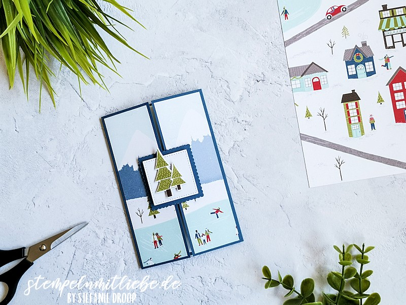 Allerbeste Wünsche zu Weihnachten  - Designerpapier Adventsstädtchen - Abendblau - Flüsterweiß - Stempeln mit Liebe - Stampin' Up! - Designerpapier Trimming the town